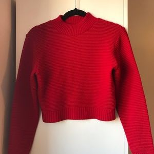 Pretty Little Thing red mock neck sweater